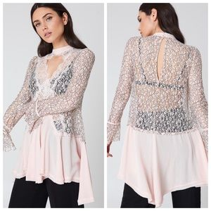 NWT ✨ Free People Tell Tale Lace Tunic in Pearl